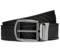 3cm Black Reversible Pelle Tessuta and Smooth Leather Belt