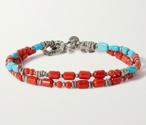 Burnished Sterling Silver, Turquoise and Coral Wrap Bracelet