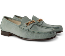 York Chain-trimmed Nubuck Loafers