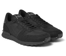 Leather-trimmed Felt Sneakers