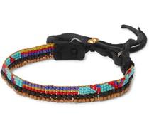 Leather-Trimmed Beaded Bracelet