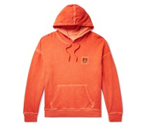 Grande Peace Embroidered Pigment-Dyed Loopback Cotton-Jersey Hoodie