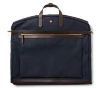 Leather-Trimmed Nylon Garment Bag