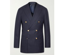 Unstructured Double-Breasted Wool Suit Jacket