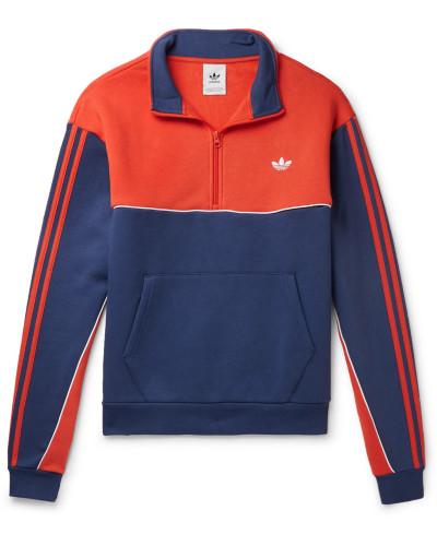 Colour-Block Fleece-Back Cotton-Blend Jersey Half-Zip Sweatshirt