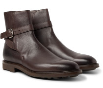 Gresham Buckled Textured-leather Boots