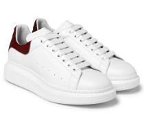 Larry Calf Hair-trimmed Exaggerated-sole Leather Sneakers