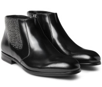 Studded Polished-leather Chelsea Boots
