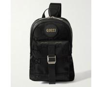 Off the Grid Leather-Trimmed Monogrammed ECONYL Canvas Sling Backpack