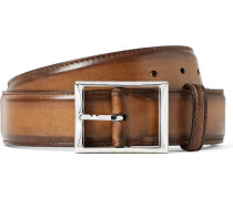3.5cm Brown Classic Polished-leather Belt