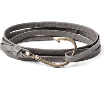 Hook Grained-leather And Gold-plated Wrap Bracelet
