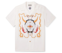 + Wolf's Head Camp-Collar Printed Woven Shirt