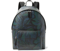 Leather-trimmed Printed Faux Leather Backpack