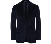 Blue Slim-fit Unstructured Cotton-corduroy Blazer