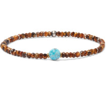 Sterling Silver, Tiger's Eye And Turquoise Bracelet