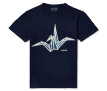 Printed Indigo-dyed Cotton-jersey T-shirt