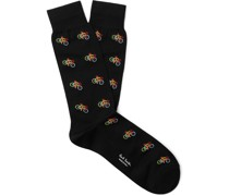 Stretch Cotton-Blend Jacquard Socks
