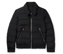 Slim-Fit Leather-Trimmed Quilted Shell Down Jacket