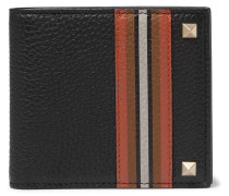 Rockstud Striped Full-grain Leather Billfold Wallet