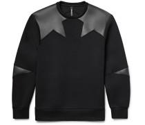 Faux Leather-panelled Bonded Jersey Sweatshirt