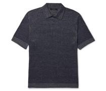 Mélange Cotton, Linen and Silk-Blend Polo Shirt