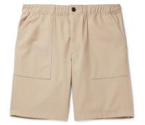 Wide-Leg Cotton-Twill Bermuda Shorts