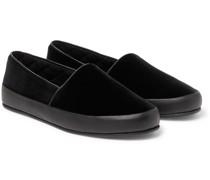 Leather-Trimmed Velvet Slippers