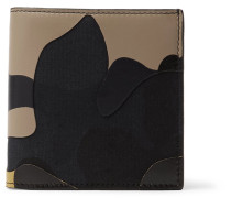 Camouflage-print Leather And Canvas Billfold Wallet