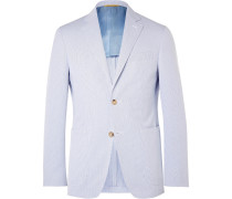 Blue Kei Slim-fit Striped Cotton-seersucker Blazer