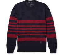 Laddered Striped Wool Sweater