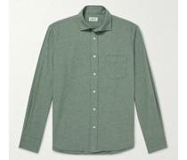Paul Cutaway-Collar Cotton-Flannel Shirt
