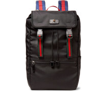 Webbing-trimmed Nylon-canvas Backpack