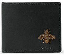 Embroidered Grained-leather Billfold Wallet