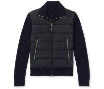 Slim-Fit Panelled Ribbed Wool and Quilted Shell Down Jacket
