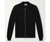 6Singular Honeycomb-Knit Merino Wool Zip-Up Cardigan