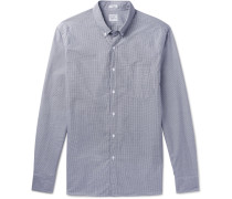 Slim-fit Button-down Collar Gingham Cotton Shirt