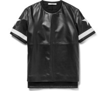 Columbian-fit Appliquéd Leather And Ponte T-shirt