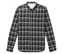 Lipp Slim-Fit Checked Crinkled Cotton-Blend Shirt