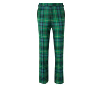 Slim-Fit Checked Wool-Flannel Trousers