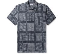 Camp-collar Printed Cotton And Silk-blend Shirt