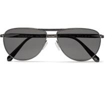 + Oliver Peoples Conduit St Aviator-style Gunmetal-tone And Acetate Polarised Sunglasses