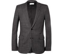 Grey Slim-fit Checked Wool Suit Jacket
