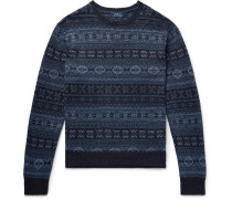 Slim-fit Fair Isle Linen And Cotton-blend Sweater