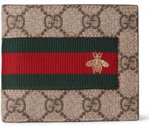 Stripe-trimmed Monogrammed Coated Canvas Billfold Wallet