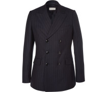 Blue Slim-fit Double-breasted Pinstriped Wool Suit Jacket