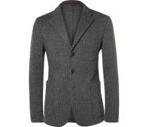 Chalk-stripe Wool And Cotton-blend Jacket