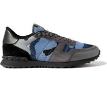 Valentino Garavani Rockrunner Camouflage-Print Mesh, Suede and Suede Sneakers