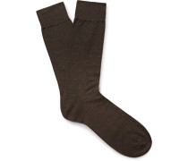 Southall Pin-dot Egyptian Cotton-blend Lisle Socks
