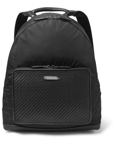 Pelle Tessuta Leather And Shell Backpack - Black