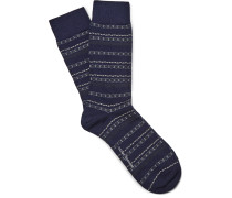 Kew Patterned Stretch Wool-blend Socks
